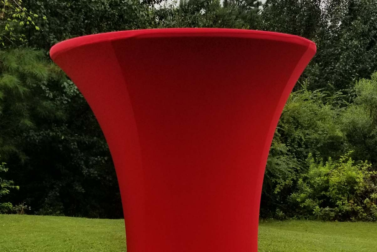 highboy with apple-red spandex